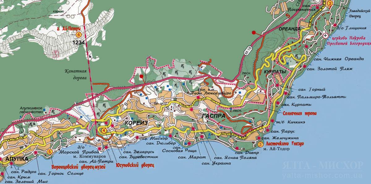 Мисхор на карте схема